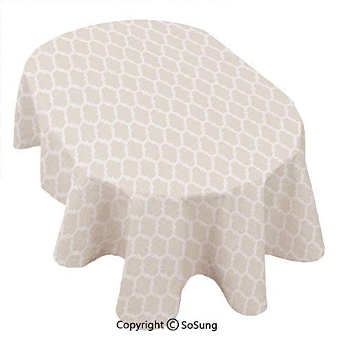 Beige Oval Polyester Tablecloth,Delicate Retro Style Shaped Horizontal Rows Classical Elements Antique Pattern Decorative,Dining Room Kitchen Oval Table Cover, 60 x 102 inches,Light Beige White