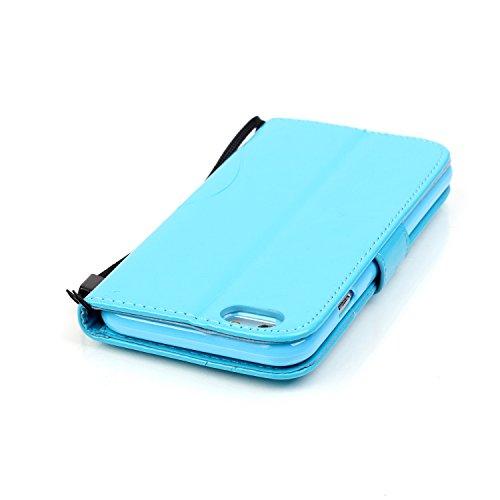 JIALUN-carcasa de telefono Con ranura para tarjetas, cordón, en relieve moda abrir teléfono celular Shell para IPhone 7 ( Color : Blue , Size : IPhone 7 ) Blue