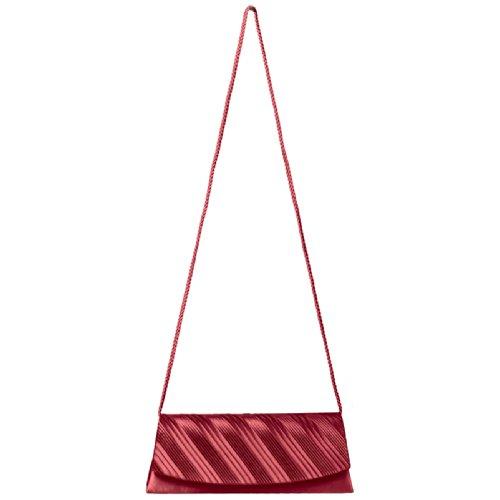 Mano Con Rojo De Elegante Para Ta297 Mujer Pliegues Satén Bolso Caspar Fiesta clutch qvxta4n