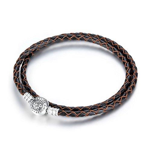 Glamulet Art - 38cm Double Black Leather Charm Bracelet -- 925 Sterling Silver -- Fits Pandora Charm