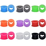 18pcs Heart Soft Flexible Silicone Ear Plugs Double Flared Expander Flesh Tunnels 1''(25mm)