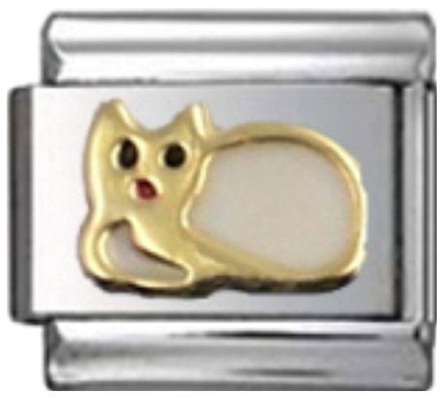 Stylysh Charms CAT White Enamel Italian 9mm Link CA125 ()