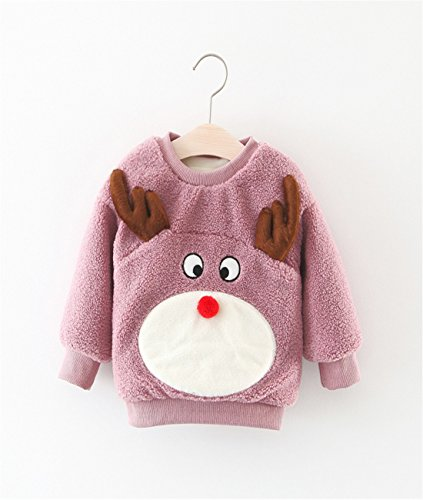GRAGON VINES Toddler & Little Girls Christmas Thick Fleece Lined Pullover Sweatshirt (2-3 years, Light purple)