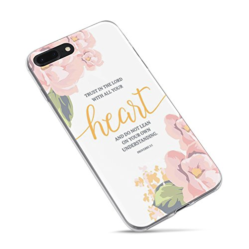 (iPhone 8 Case Girls,iPhone 7 Case for Women,Cute Flowers Floral Rose Christian Bible Verses Inspirational Quotes Proverbs 3:5 Trust Lord Soft Ur Heart Clear Side Case Compatible for iPhone 8/iPhone)