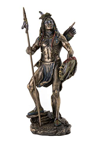 Top Collection Sioux Native American Warrior Statue - Plains Indian with Spear and Shield Sculpture in Cold-Cast Bronze with Color Accents - 7-Inch Collectible Indigenous Warrior Figurine