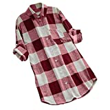 KYLEON Women Shirts O-Neck Lattice Print Long Sleeve Buttons Ladies Casual Blouse Summer Tank Tunics Vest Camis Tops Red