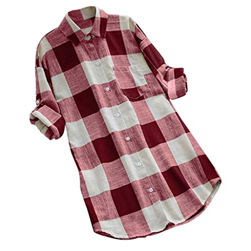 KYLEON Women Shirts O-Neck Lattice Print Long Sleeve Buttons Ladies Casual Blouse Summer Tank Tunics Vest Camis Tops Red by KYLEON (Image #4)