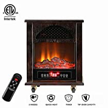 Ainfox Portable Electric Space Heater, 1000W-1500W Infrared Zone Heating Systems, Tip-Over and overheat protection Remote Control 12hr Timer & Filter (Dark Brown)