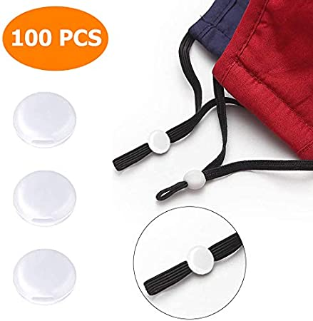 blanco Tope de cuerda de silicona para ajustador de banda el/ástica Cord Locks cierre de cord/ón ajustable antideslizante 100 unidades