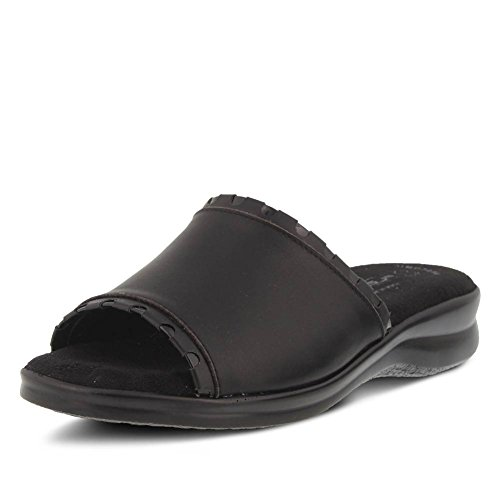 M Step 42 Black Patent Spring Flexus Cubby Women's Trimmed Slide Leather Black Size by qFZE6O