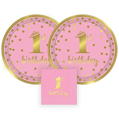 Amscan Gold Foil 1st Birthday Party Paper Plates and Paper Napkins, 16 Servings, Bundle- 3 Items - Birthday Paper Plates 1st