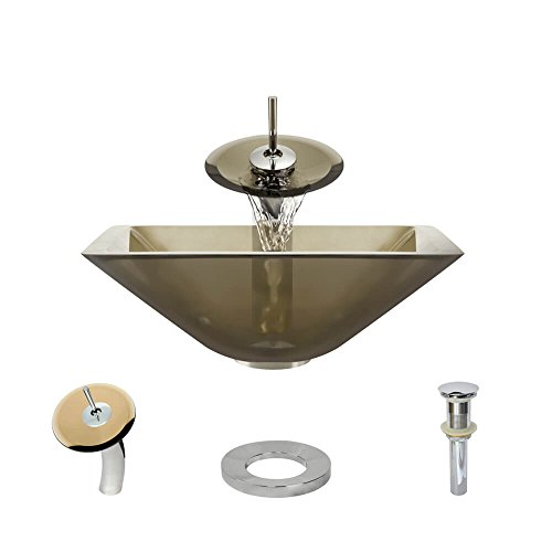 - R5-5003-CAS-WF-C Cashmere Colored Glass Vessel Sink with Chrome Waterfall Faucet, Sink Ring, and Vessel Pop-Up Drain