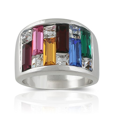JanKuo Jewelry Rhodium Plated Multi Color Baguette Crystals Candy Maze Cocktail Band Ring (9)