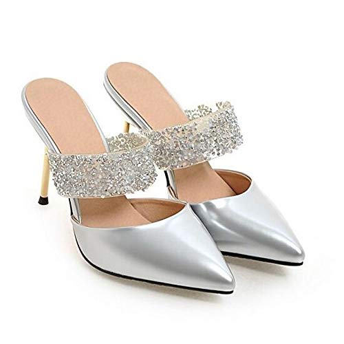 Silver Silver Faux Heel Heels ZHZNVX Leather White Shoes Spring Comfort Women's Stiletto UOnOqwvP4