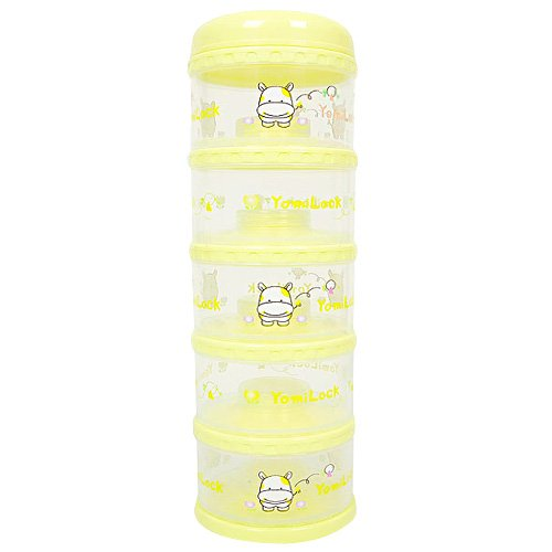 Yomilock-5-Layer-Antibiotic-Milk-Powder-Container-Dispenser-Yellow-Made-In-Korea