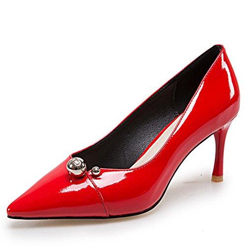 Nine Seven Cuero Moda Puntiagudos Tacones de Aguja de Vestir para Mujer Rojo