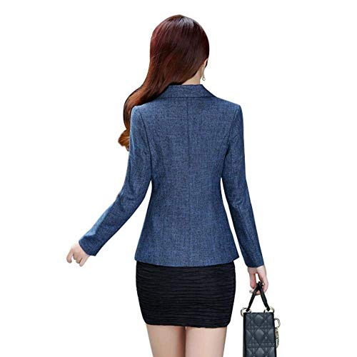 Giacche Lunga Tailleur Cappotto Colori Autunno Button Da Elegante Women Business Blazer Primaverile Moda Blau Giacca Bavero Vintage Solidi Manica Giovane Fit Donna Con Slim xAw16PqP
