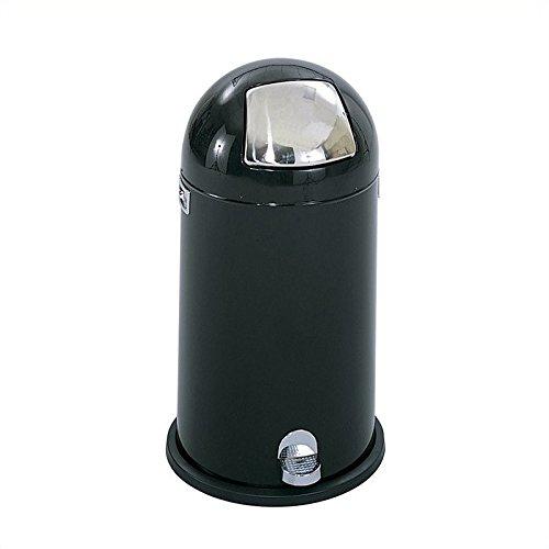 Step-On Dome Top Waste Receptacle, 12 Gallon, 16-1/2 dia. x 29h, Black/Chrome (SAF9721BL)