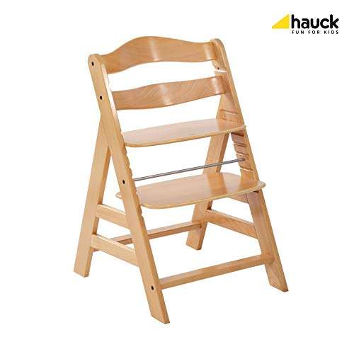 Hauck Alpha Wooden Height Adjustable Chair from 36 Months, Compatible with Hauck Alpha Bouncer from Birth, Natural