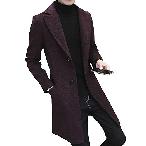 Risvolto Risvolto Risvolto Caldo Elegante Outwear Cappotto da da da da Uomo Cappotto Moderna HaiDean Sottile Burgunderrot Lungo Casual Cappotto Cappotto Cappotto Inverno Cappotto Manica Casual Trench Lunga Ufqw5