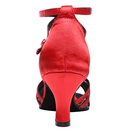 Dance Akanu Salsa Dance Shoes Female's Latin Shoes Red Ballroom Women's OqwqnUSaP