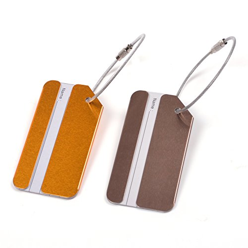 KLOUD City ® 2 pcs Metal Travel Accessories Square-shape Luggage tag / Identifier with Name Card (Golden & Coffe)