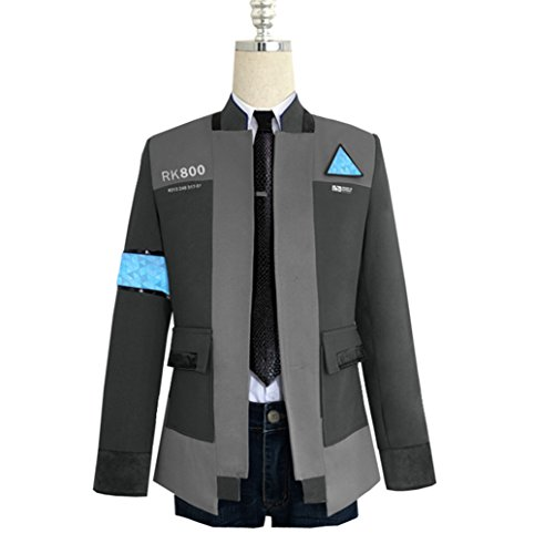COSFLY Game Become Human Connor Jacket Cosplay Costume Men Coat Uniform Suit Small, Grey 2 (Coat + Shirt+Tie) (Jacket Game)