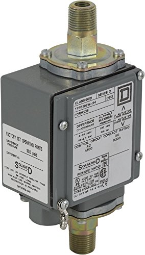 Square D 9012GG Differential-Pressure Diaphragm-Actuated Pressure Switch, 0-175 psi Press. Range, NEMA 4, 4X, and 13 Enc, 1/4