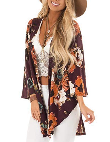 - Womens Plus Size Kimono Cardigan Sweater Split Side Design with Floral Print S