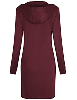 Misswor Womens Long Sleeve Half Zip Mock Neck Casual Hoodie/Dress with Pockets