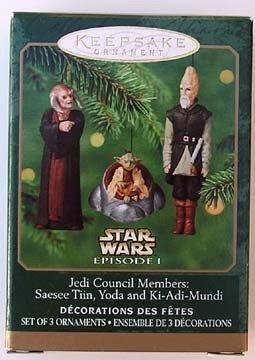 Jedi Council Members - Hallmark Keepsake Ornaments: Star Wars, Episode I: Jedi Council Members: Saesee Tiin, Yoda and Ki-Adi-Mundi (Set of 3 Miniature Ornaments)