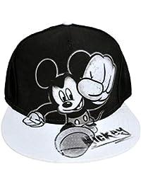 Disney Youth Mickey Mouse Smash Flat Bill Baseball Hat Black and White