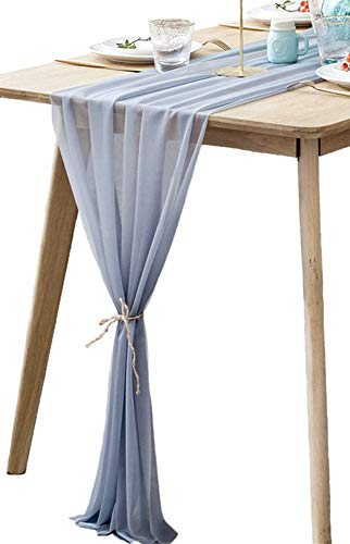 (BOXAN Grey Sheer Table Runne/Overlay Decorative Wrinkle Resistant for Romantic Wedding Party, Bridal & Baby Shower Table Decoration 30x120 Inch)