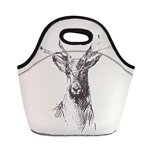 Semtomn Neoprene Lunch Tote Bag Dear Deer Head Engraving Vintage Sketch Stag Black Lithograph Reusable Cooler Bags Insulated Thermal Picnic Handbag for Travel,School,Outdoors,Work