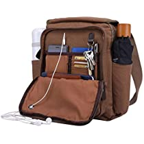 Canvas Messenger Bag Over Shoulder Purse Crossbody with 2 Side Pocket for Water Bottle & Umbrella