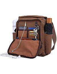 Canvas Messenger Bag Over Shoulder Purse Crossbody with 2 Side Pocket for Water Bottle & Umbrella