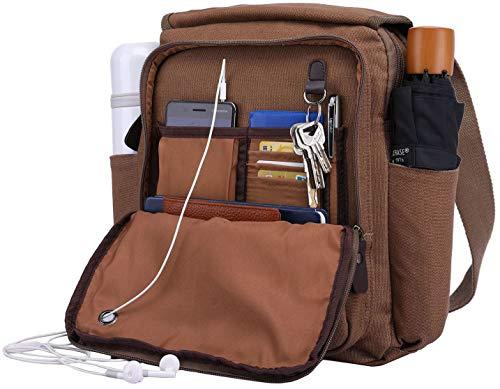 Canvas Messenger Bag Over Shoulder Purse Crossbody with 2 Side Pocket for Water Bottle & Umbrella ()