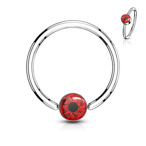 Amelia Fashion Eyeball Inlay Round Flat Cylinder Captive Bead Ring 316L Surgical Steel (Choose Size) (RED 16GA(1.2mm) L.3/8