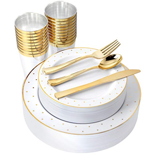 IOOOOO 25 Guest Gold Plastic plates with Silverware & Gold rim Cups, Includes 25 Dinner Plates, 25 Salad Plates, 25 Forks, 25 Knives, 25 Spoons, 25 Tumbles (Dots White/Gold) (Dinnerware Dot Gold)