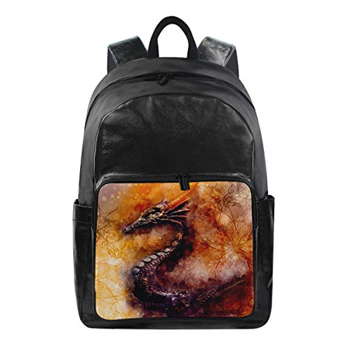 - Dragon Simple Backpack School Bags Casual Stylish Outdoor Sports Large Capacity Casual Travel Rucksack Student College Bookbag for Men Women Teenagers Black