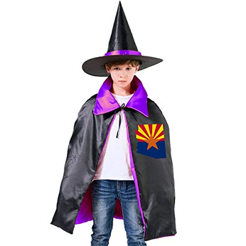 Kids Flag Map Of Arizona Halloween Party Costumes Wizard Hat Cape Cloak Pointed Cap Grils -