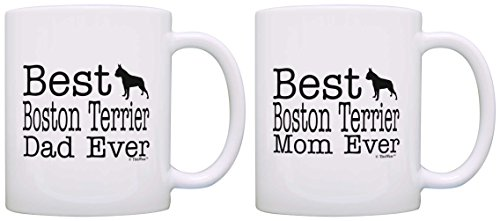 Terrier Mug Cup Coffee - Dog Lover Gift Best Boston Terrier Mom Dad Ever Bundle 2 Pack Gift Coffee Mugs Tea Cups White