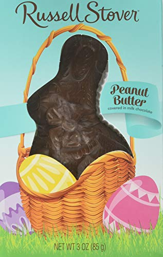 Russell Stover Milk Chocolate Peanut Butter Flat Back Rabbit, 3 Ounce, 12 Count ()