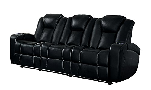 Homelegance Madoc Modern Power Double Reclining Sofa Leather Gel Match with Drop Down Center Console with Cup Holders, Black