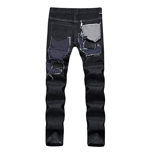 Moda Los Destruidos La Negro Cintura Casual Ropa Recta Hombres Media Ocio De Pantalones Rasgados Vaqueros Jeans HrAq8H