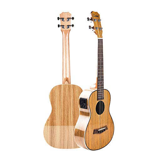 Caramel CB103 30 Inch High Gloss Zebra Wood Baritone LCD Color Display Electric Ukulele With Truss Rod