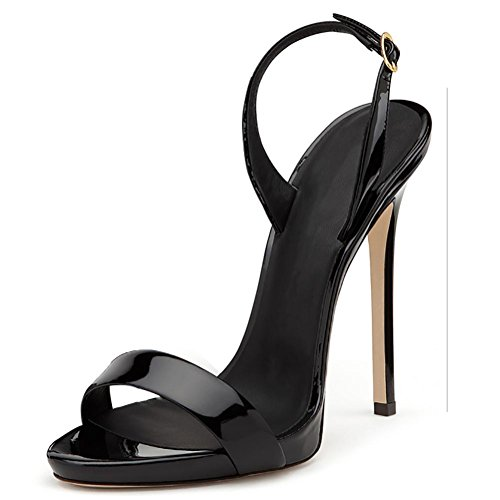 Bellas de hebilla correa de las mujeres con vestido ToePumps sandalias Black