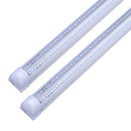 (V Shape Integrated LED Tube Light, 8FT 72W (150W Fluorescent Equivalent), Works without T8 Ballast, Plug and Play, Clear Lens Cover, Cold White 6000K Pack of 4)