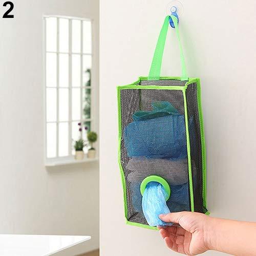 Slendima 6.10'' x 4.33'' x 16.54'' Breathable Kitchen Hanging Mesh Garbage Bag Storage Packing Organiser Bag Green