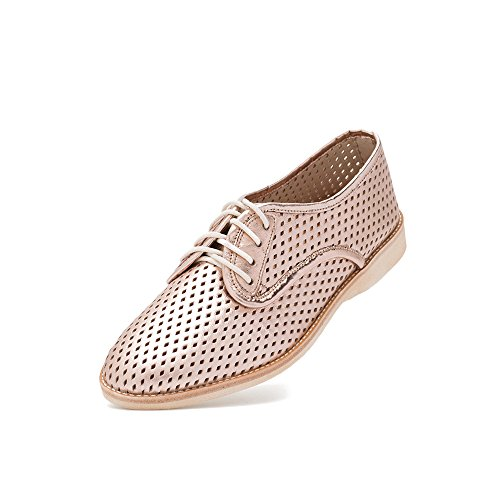 Rollie Women's Derby Punch Rose Gold, Perforated Leather Oxfords Metallic Flat Shoes for Women with Holes Perforations, Size 6 US / 37 ()